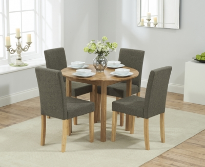 Mark Harris Promo Solid Oak Round Extending Dining Table with 4 Maiya Brown Chairs
