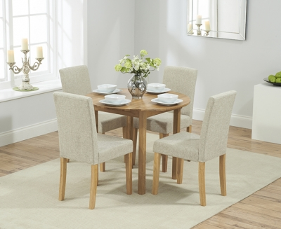 Mark Harris Promo Solid Oak Round Extending Dining Table with 4 Maiya Cream Chairs