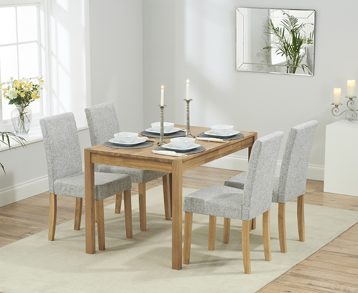 Mark Harris Promo Solid Oak 120cm Dining Table with 4 Maiya Grey Chairs