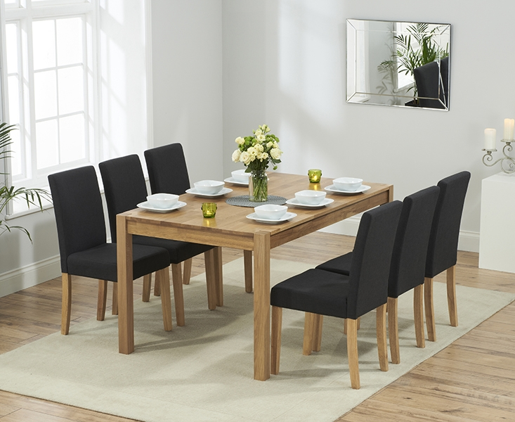 Mark Harris Promo Solid Oak 150cm Dining Set with 6 Maiya Black Dining Chairs