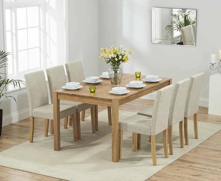 Mark Harris Promo Solid Oak 120cm Dining Set with 4 Atlanta Cream Faux Leather Dining Chairs