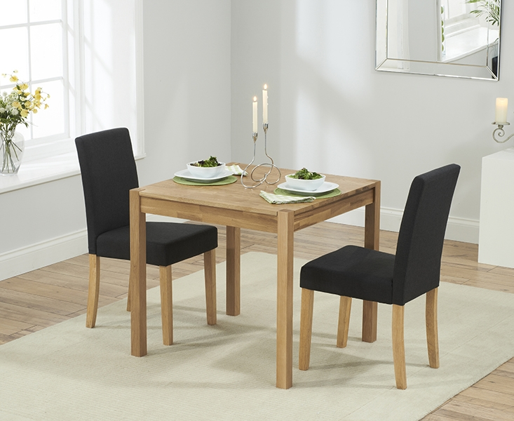 Mark Harris Promo Solid Oak 80cm Dining Set with 2 Maiya Black Dining Chairs