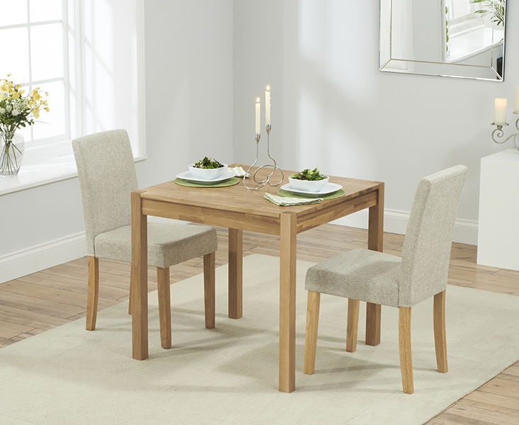 Mark Harris Promo Solid Oak 70cm Rectangular Extending Dining Set with 2 Maiya Brown Dining Chairs