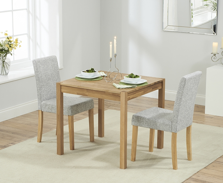 Mark Harris Promo Solid Oak 80cm Dining Table with 2 Maiya Grey Chairs