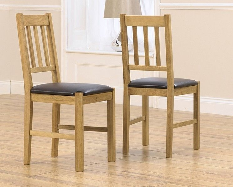 Mark Harris Promo Oak Brown Faux Leather Dining Chair (Pair)