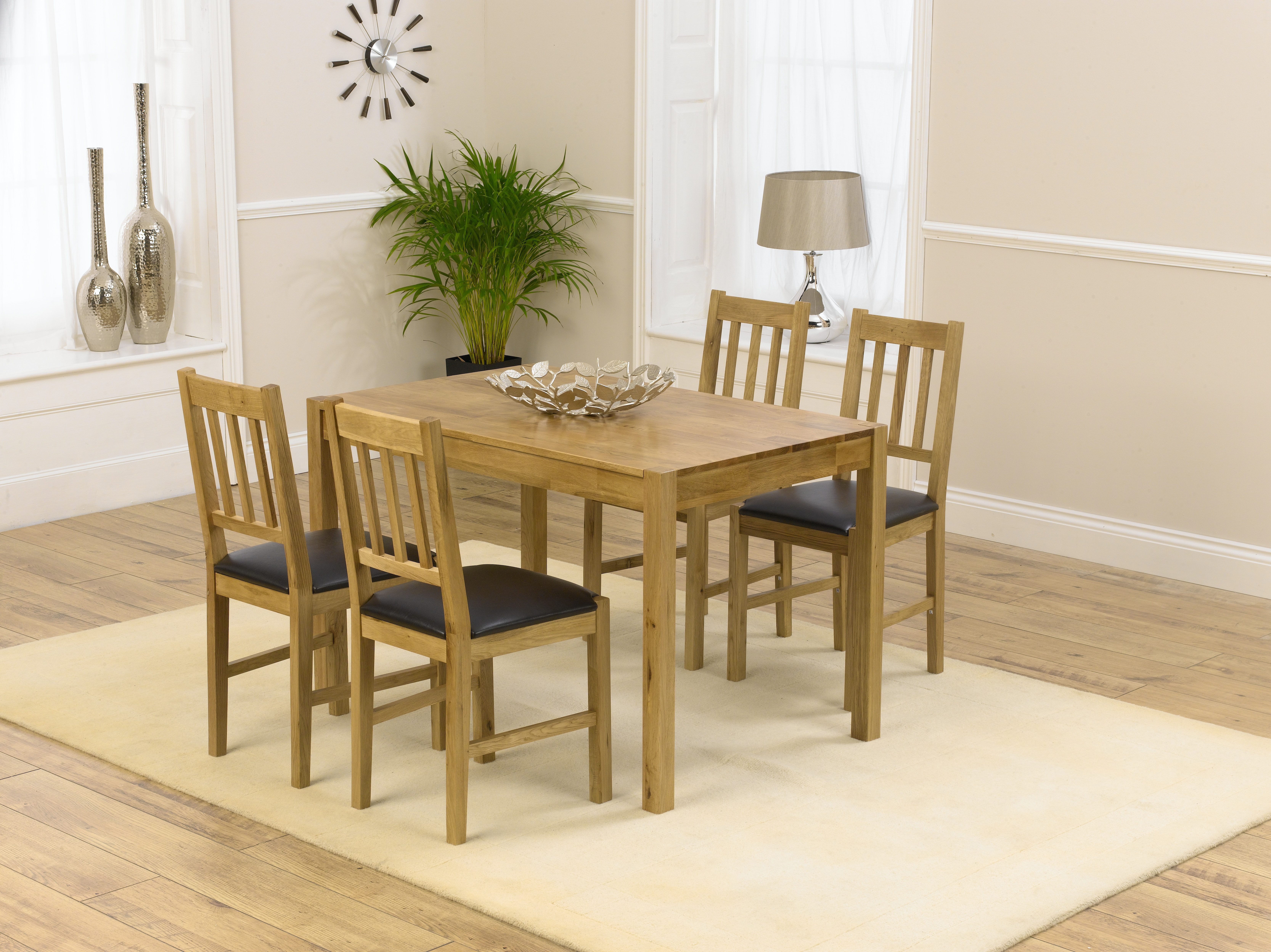Mark Harris Promo Dining Table and 4 Chairs - Oak and Brown