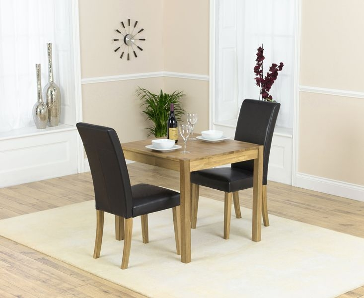 Mark Harris Promo Solid Oak Dining Set - 80cm Square with 2 Atlanta Black Faux Leather Chairs
