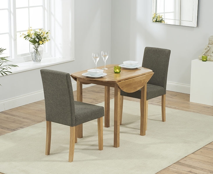 Mark Harris Promo Solid Oak 90cm Round Extending Dining Set with 2 Maiya Brown Dining Chairs