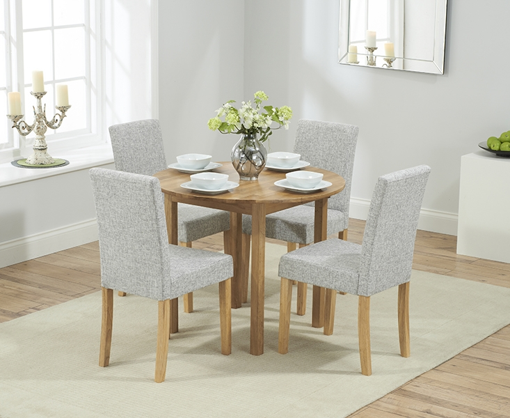 Mark Harris Promo Solid Oak Round Extending Dining Table with 4 Maiya Grey Chairs