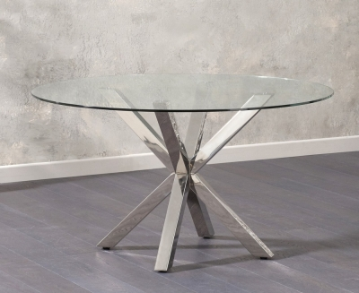 Mark Harris Round Dining Table - Glass and Chrome