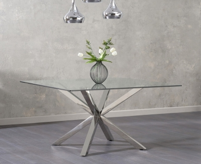 Mark Harris Remus Square Dining Table - Glass and Chrome