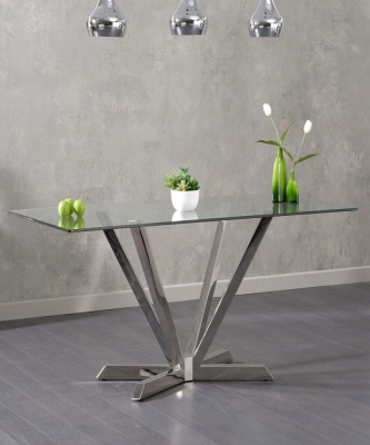 Mark Harris Rene Dining Table - Glass and Chrome