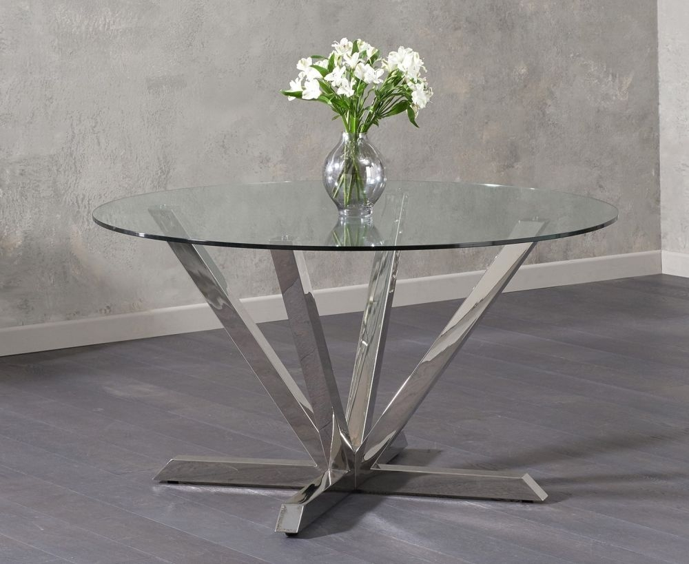 Mark Harris Rene Round Dining Table - Glass and Chrome