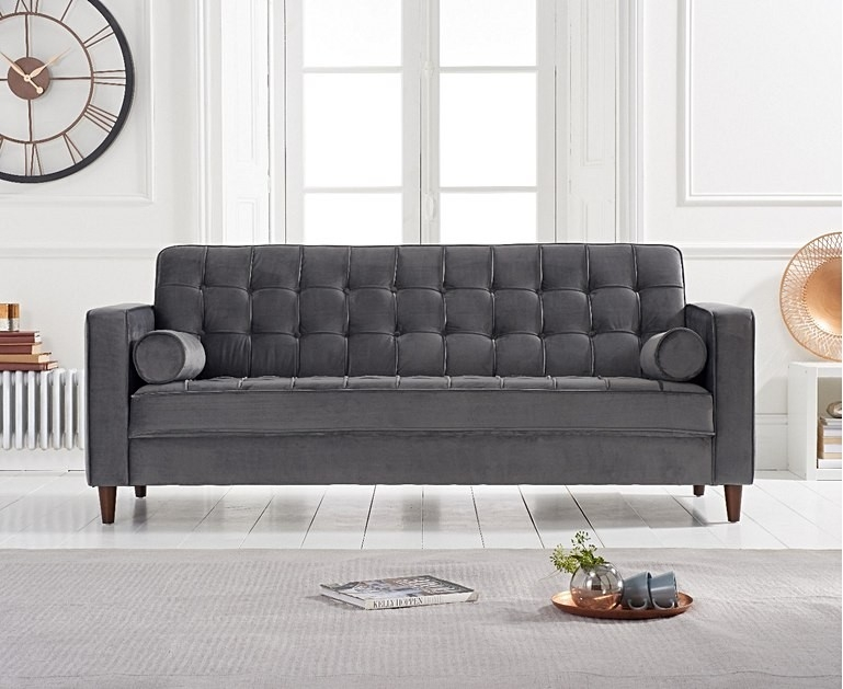 Mark Harris Riviera Grey Velvet Fabric 3 Seater Sofa