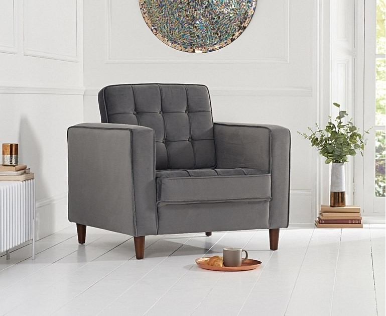 Mark Harris Riviera Grey Velvet Fabric Armchair