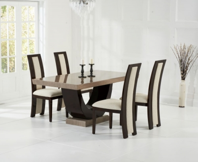 Mark Harris Rivilino Brown Constituted Marble Dining Set with 4 Dining Chairs
