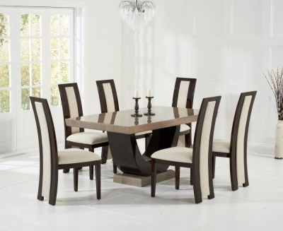 Mark Harris Rivilino Brown Constituted Marble Dining Set with 6 Dining Chairs