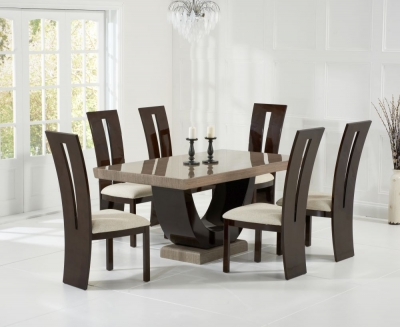 Mark Harris Rivilino Brown Constituted Marble Dining Set with 6 Valencie Brown Dining Chairs