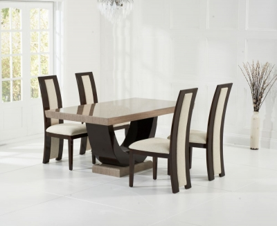 Mark Harris Rivilino Brown Engineered Marble Dining Table and 4 Chairs