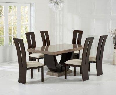 Mark Harris Rivilino Brown Engineered Marble Dining Table and 4 Valencie Chairs