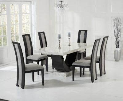 Mark Harris Rivilino Cream and Black Constituted Marble Dining Set with 6 Black Dining Chairs