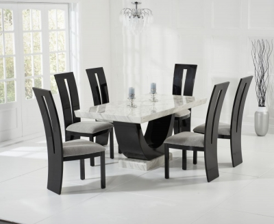 Mark Harris Rivilino Cream and Black Constituted Marble Dining Set with 6 Valencie Black Dining Chairs
