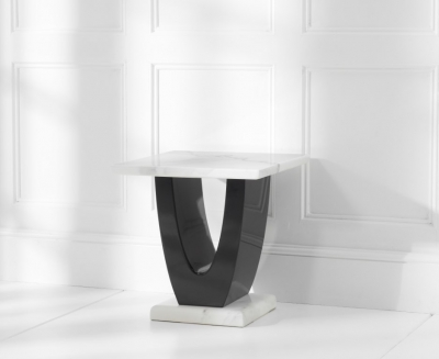 Mark Harris Rivilino White Marble Lamp Table