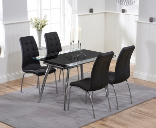 Mark Harris Roehampton Black Glass Extending Dining Table with 4 California Black Chairs