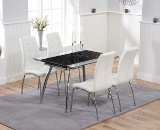 Mark Harris Roehampton Black Glass Extending Dining Table with 4 California White Chairs