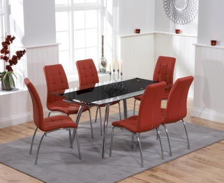 Mark Harris Roehampton Black Glass Extending Dining Table with 6 California Red Chairs