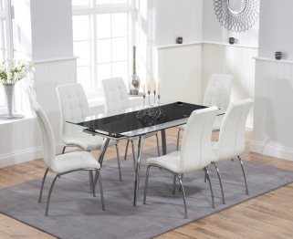 Mark Harris Roehampton Black Glass Extending Dining Table with 6 California White Chairs