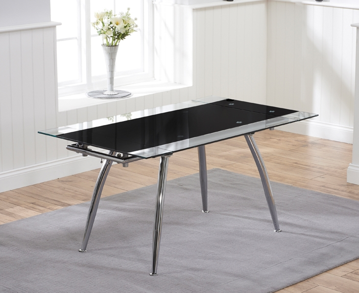 Mark Harris Roehampton Black Glass Dining Table - 110cm Rectangular Extending