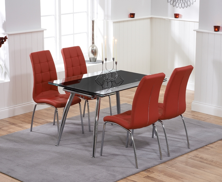 Mark Harris Roehampton Black Glass Extending Dining Table with 4 California Red Chairs