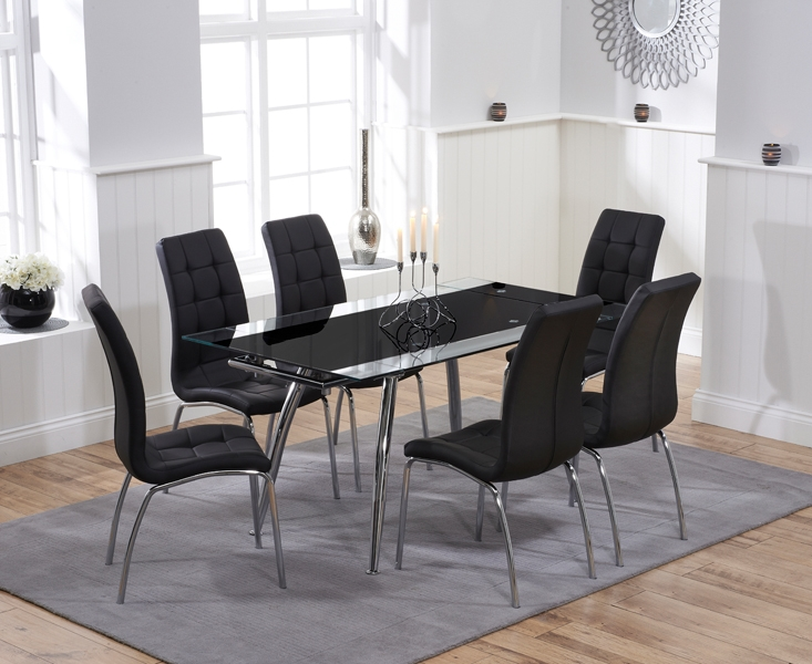 Mark Harris Roehampton Black Glass Extending Dining Table with 6 California Black Chairs