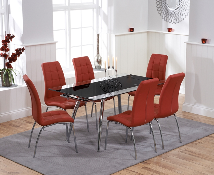 Mark Harris Roehampton Black Glass Extending Dining Set with 6 California Red Dining Chairs
