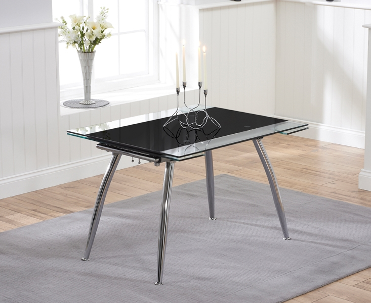 Mark Harris Roehampton Black Glass Extending Dining Table