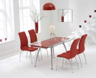 Mark Harris Roehampton Red Glass Extending Dining Set with 4 California Red Dining Chairs