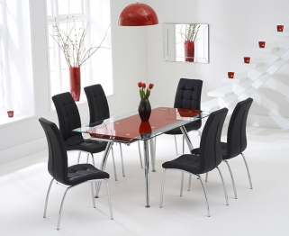 Mark Harris Roehampton Red Glass Extending Dining Table with 6 California Black Chairs
