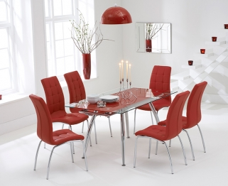 Mark Harris Roehampton Red Glass Extending Dining Set with 6 California Red Dining Chairs