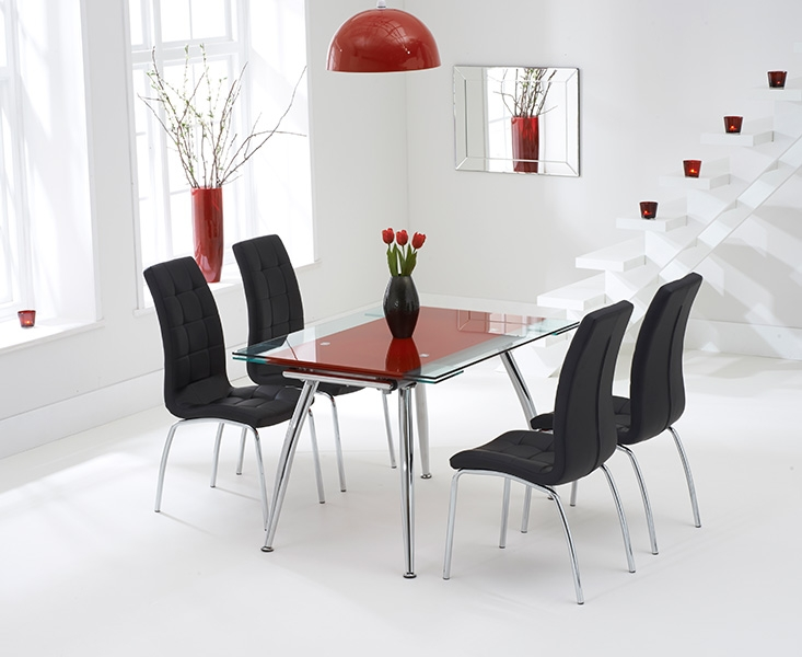 Mark Harris Roehampton Red Glass Extending Dining Table with 4 California Black Chairs