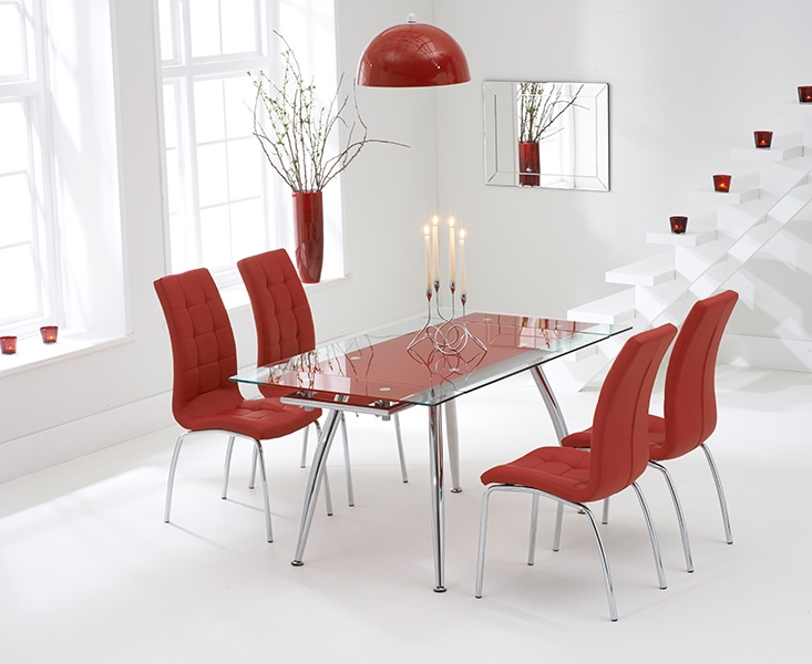 Mark Harris Roehampton Red Glass Extending Dining Table with 4 California Red Chairs