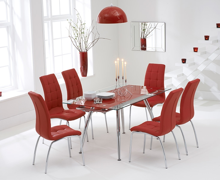 Mark Harris Roehampton Red Glass Extending Dining Table with 6 California Red Chairs