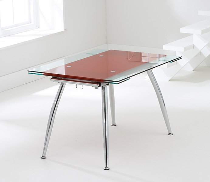Mark Harris Roehampton Red Glass Extending Dining Table