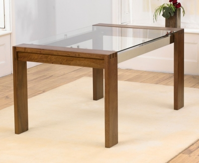 Mark Harris Roma Walnut and Glass 150cm Dining Table