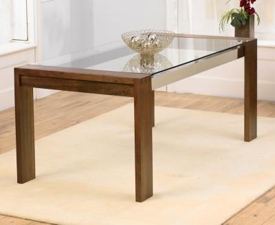 Mark Harris Roma Walnut and Glass 180cm Dining Table