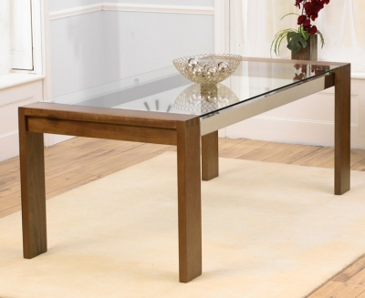 Mark Harris Roma Walnut and Glass 200cm Dining Table