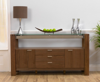 Mark Harris Roma Walnut and Glass Sideboard