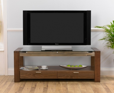 Mark Harris Roma Walnut and Glass TV Unit