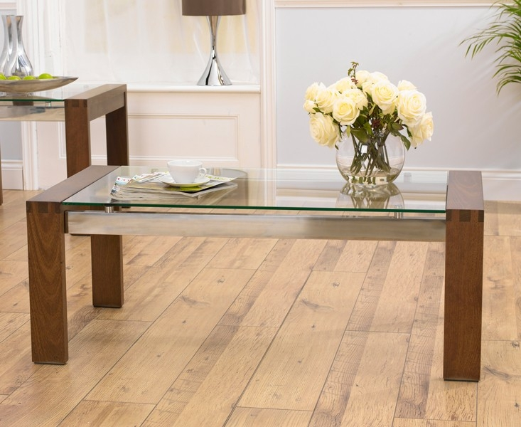 Mark Harris Roma Walnut and Glass Coffee Table