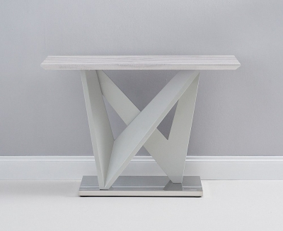 Mark Harris Rosario Light Grey High Gloss Engineered Marble Top Console Table